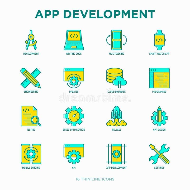 Linha fina grupo do desenvolvimento do App dos ícones ilustração stock