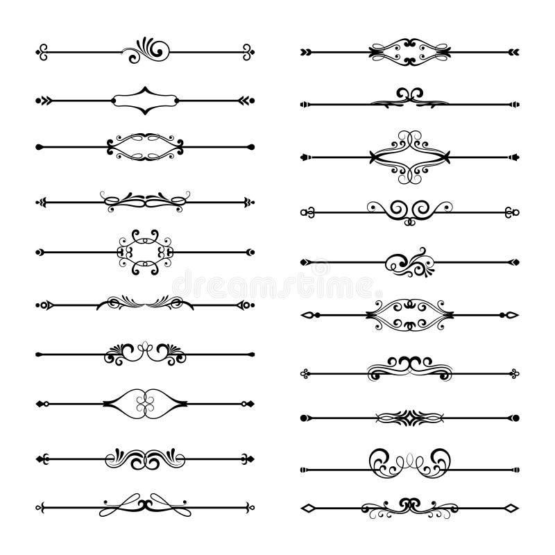 Linha fina grupo do divisor isolado no fundo branco Divisores florais pretos da página do vintage ilustração royalty free