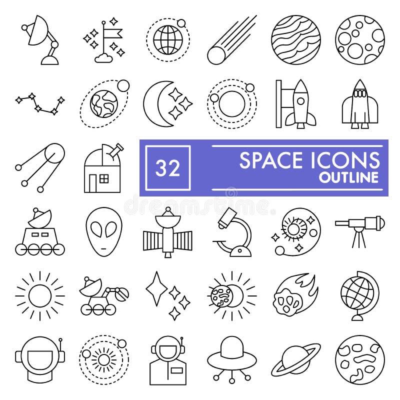 A linha fina grupo do espaço do ícone, símbolos coleção da astronomia, esboços do vetor, ilustrações do logotipo, ciência assina  ilustração stock