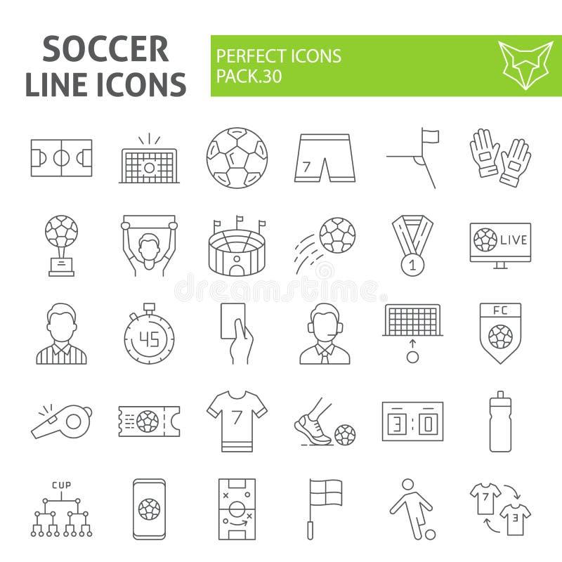 Linha fina grupo do futebol do ícone, símbolos coleção do futebol, esboços do vetor, ilustrações do logotipo, sinais do jogo do e ilustração do vetor
