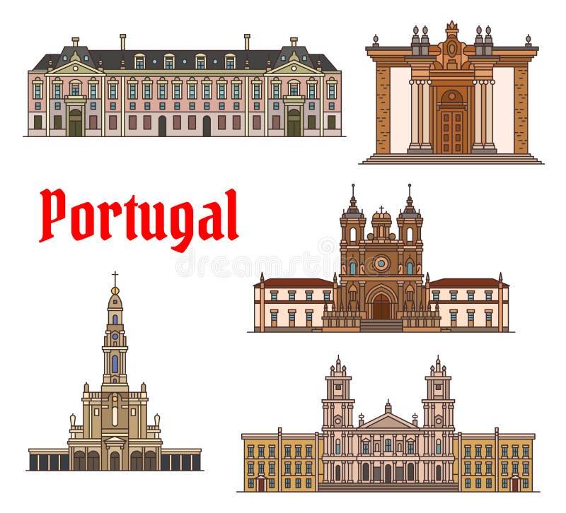 Linha fina grupo do marco do curso do português do ícone ilustração stock