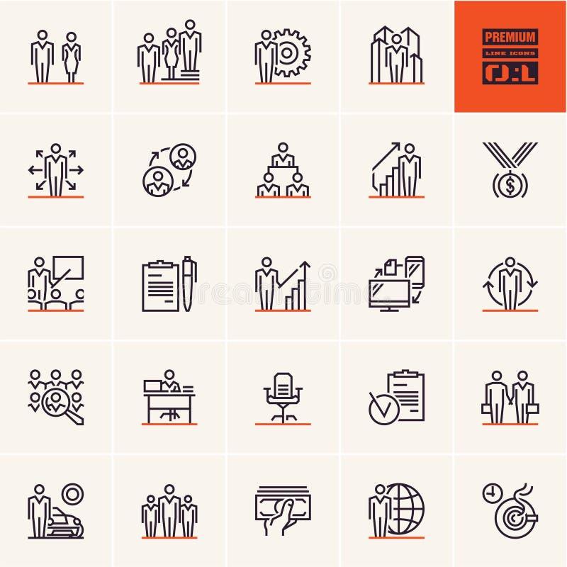 A linha fina grupo do negócio e da gestão do ícone, executivos alinha ícones ilustração stock
