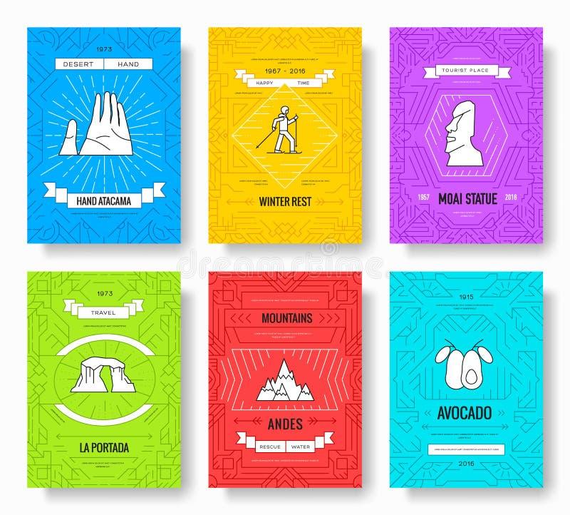 Linha fina grupo do pimentão de cartões do folheto Molde tradicional de flyear, compartimentos do país, cartazes, capa do livro,  ilustração royalty free