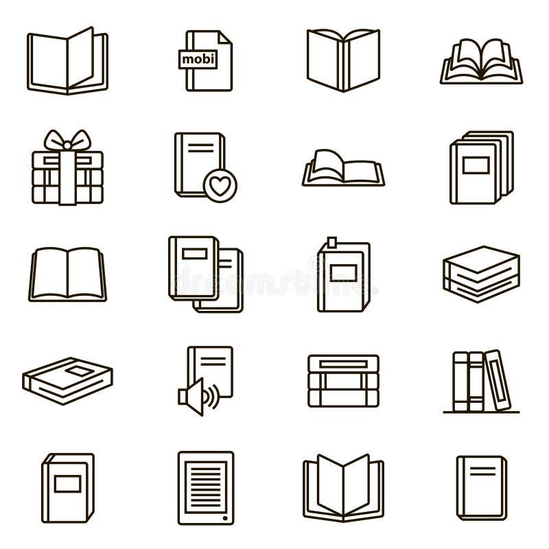 Linha fina grupo do preto dos sinais do livro do ícone Vetor ilustração royalty free