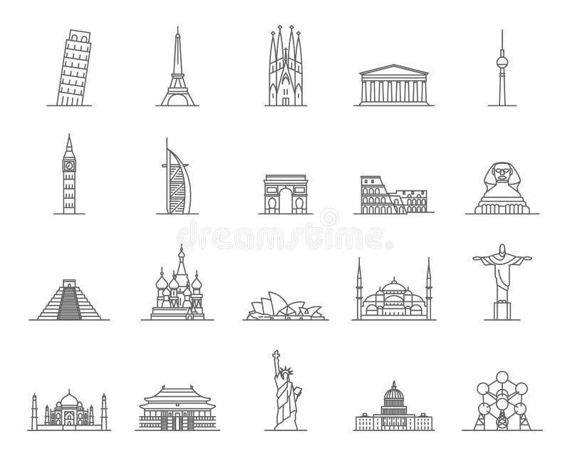 Linha fina grupo do preto dos sinais dos marcos do mundo do ícone Vetor ilustração stock