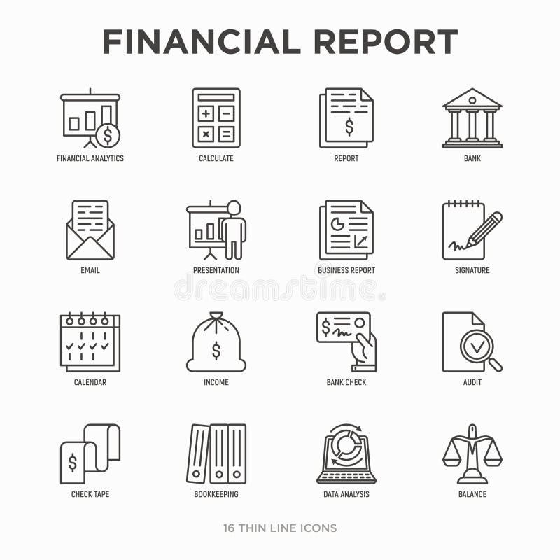 Linha fina grupo do relatório financeiro dos ícones: o banco, analítica financeira, calcula, assinatura, e-mail, apresentação, ve ilustração stock