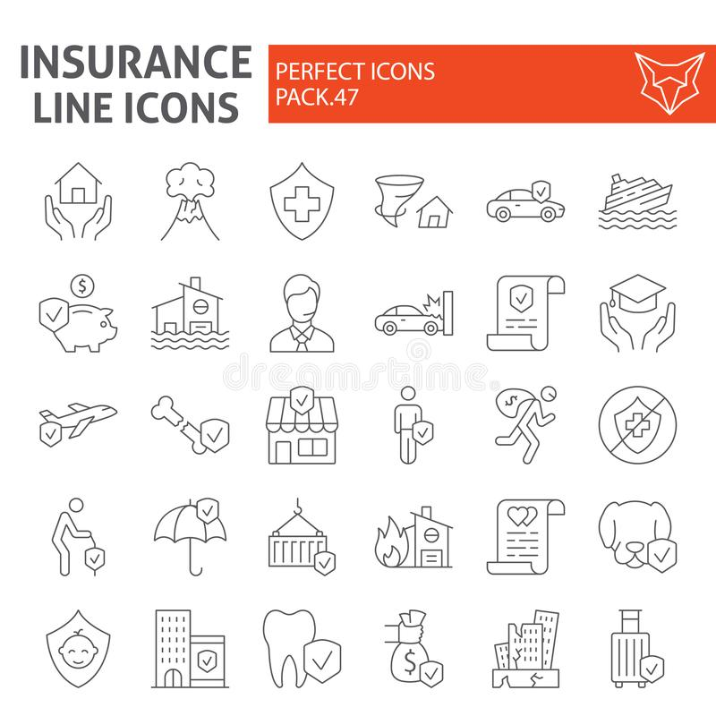 Linha fina grupo do seguro do ícone, símbolos coleção dos cuidados médicos, esboços do vetor, ilustrações do logotipo, vida e neg ilustração stock