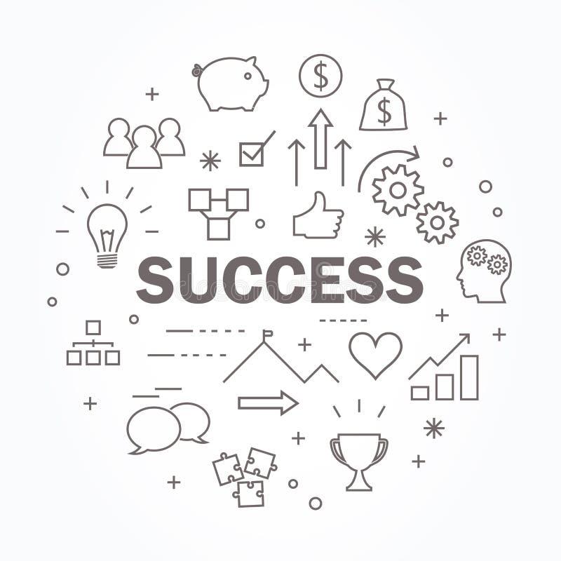 Linha fina grupo do sucesso do ícone Ilustra??o do vetor ilustração do vetor
