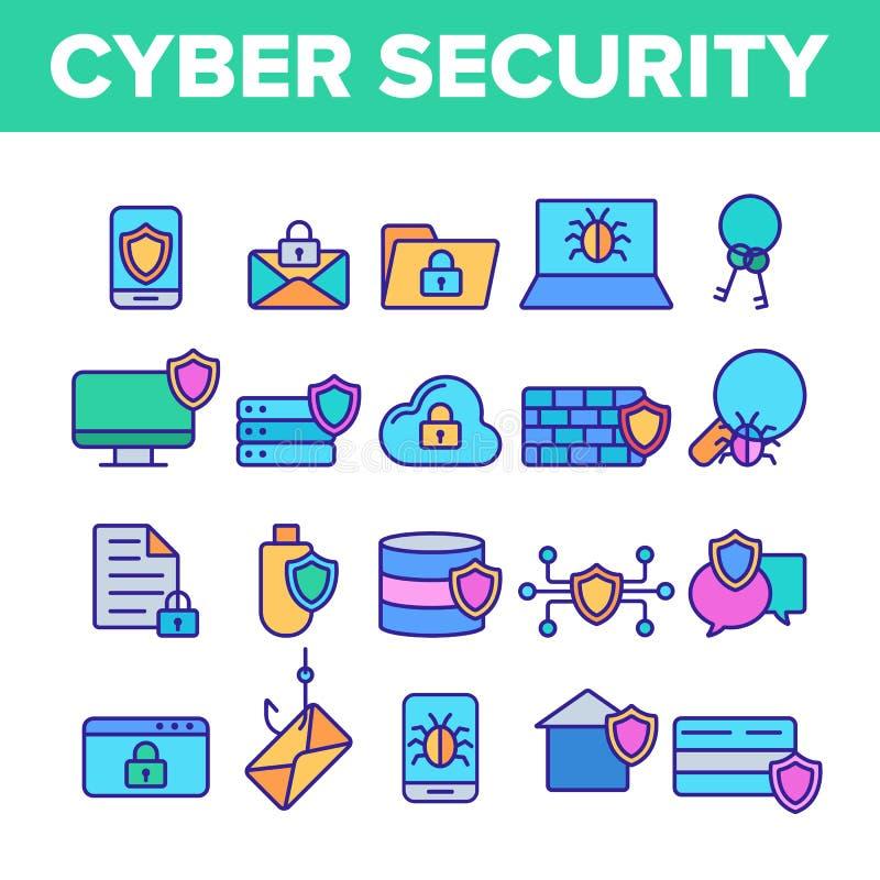 Linha fina grupo do vetor da segurança do Cyber dos ícones ilustração stock