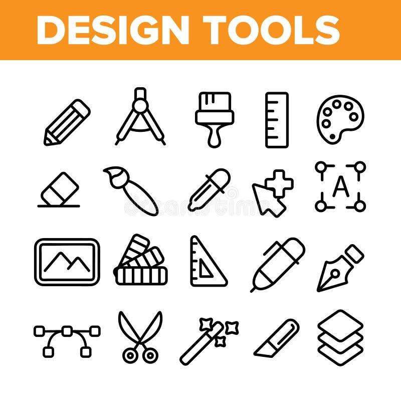 Linha fina grupo do vetor das ferramentas de projeto dos ícones ilustração royalty free