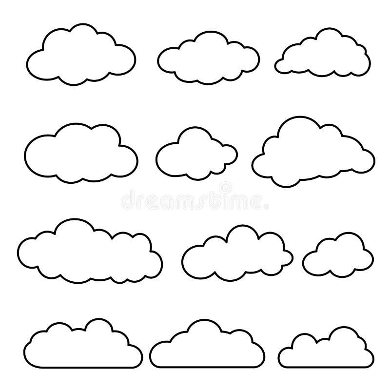Linha fina grupo do vetor de nuvens isoladas ilustração royalty free