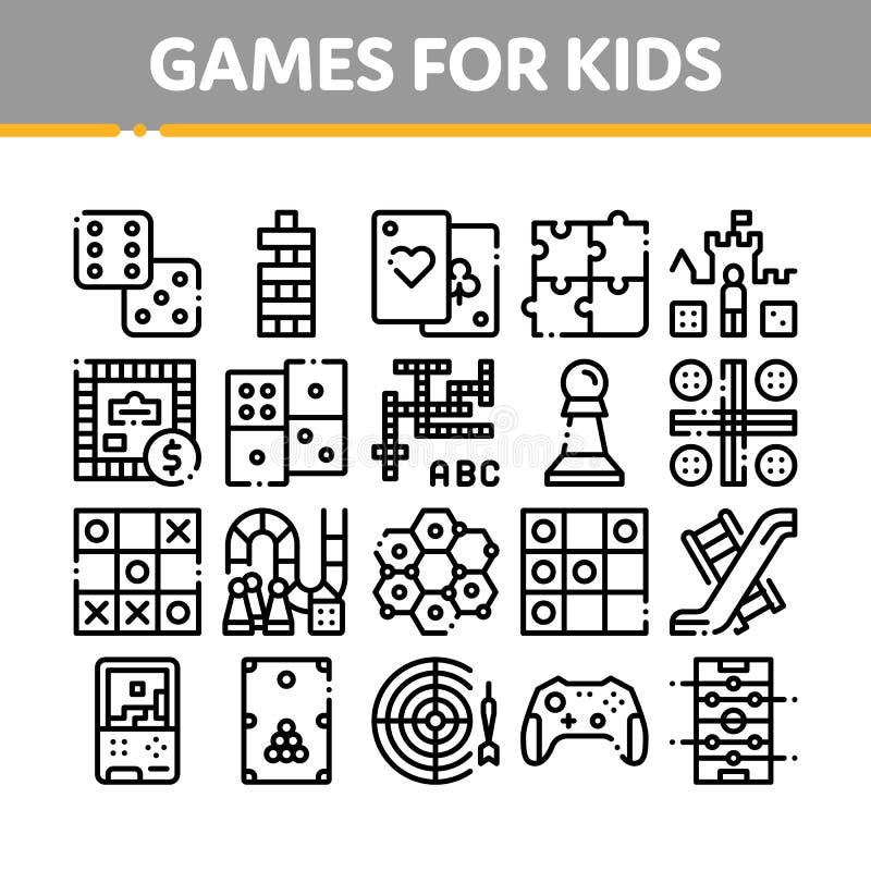 Linha fina grupo do vetor interativo dos jogos das crianças dos ícones ilustração stock