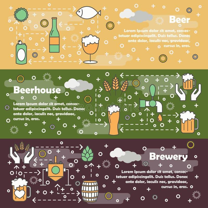 Linha fina grupo do vetor do molde da bandeira da Web da cerveja da arte ilustração stock