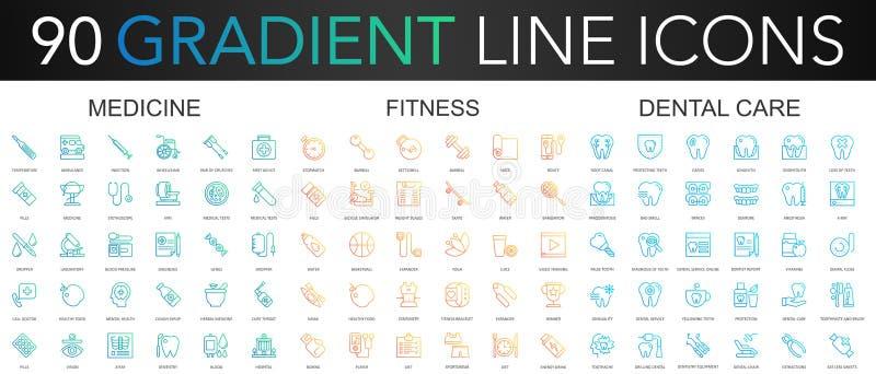 linha fina grupo do vetor na moda do inclinação 90 dos ícones da medicina, aptidão, cuidados dentários ilustração stock