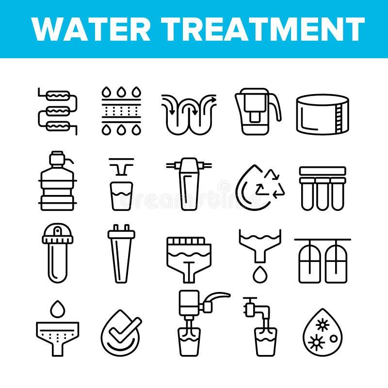 Linha fina grupo do vetor do tratamento da água dos ícones ilustração do vetor