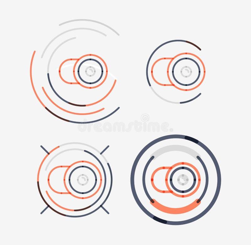 Linha fina grupo puro do logotipo do projeto, conceito da câmera ilustração do vetor