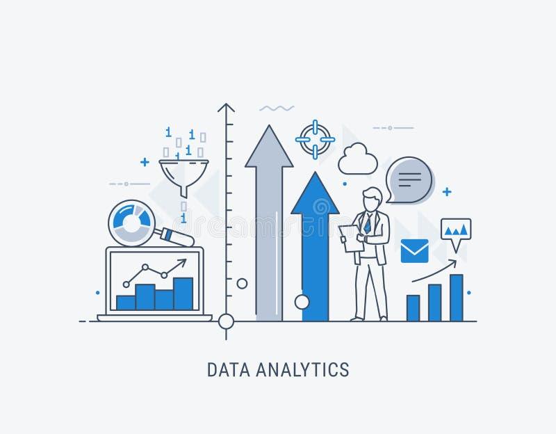 Linha fina ilustração da bandeira do Web site da analítica dos dados do vetor ilustração do vetor