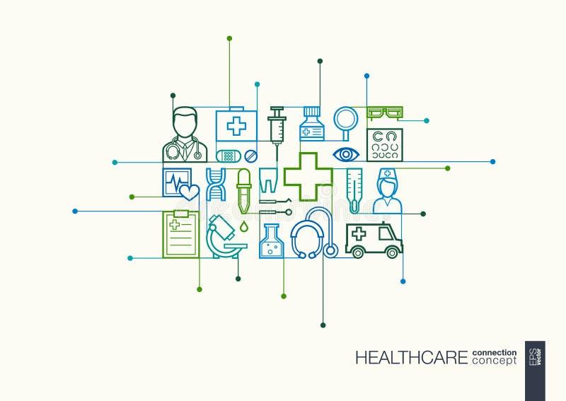 Linha fina integrada cuidados médicos símbolos ilustração stock