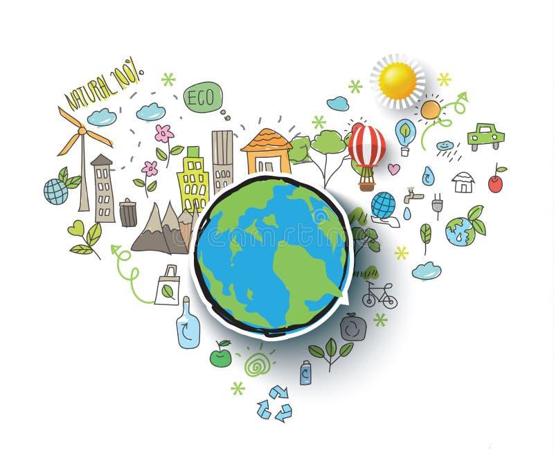 Linha fina integrada ecologia símbolos Cor moderna com conceito tirado mão do vetor do estilo ilustração royalty free