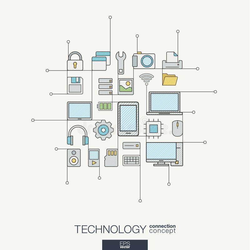 Linha fina integrada tecnologia símbolos Conceito moderno do vetor do estilo da cor ilustração do vetor
