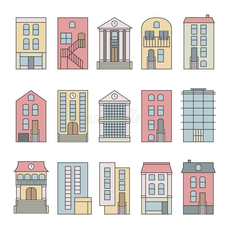 Linha fina lisa grupo do construtor da skyline das construções da cidade do vetor da cor ilustração stock