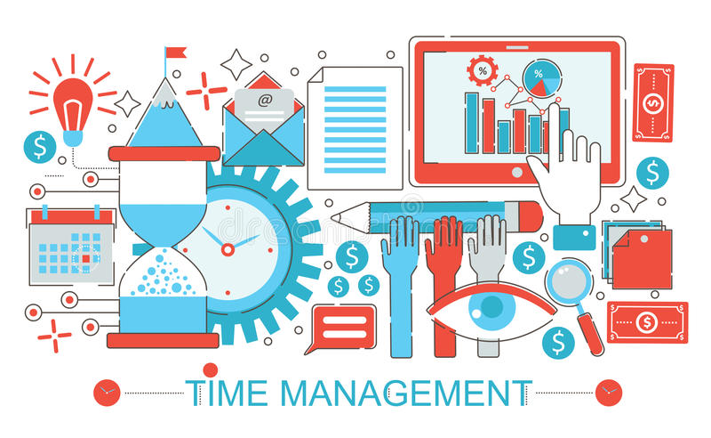 Linha fina lisa moderna conceito da gestão de tempo do projeto para o Web site, a apresentação, o inseto e o cartaz da bandeira d ilustração royalty free