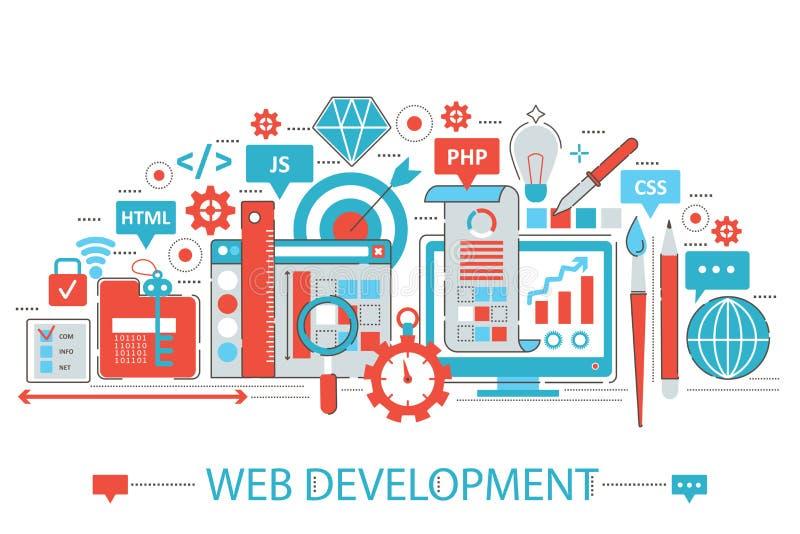 Linha fina lisa moderna conceito do desenvolvimento da Web do projeto ilustração stock