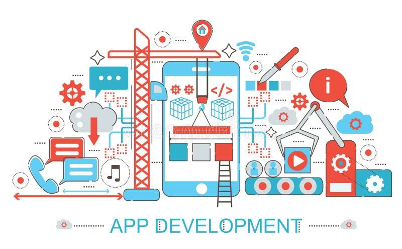 Linha fina lisa moderna conceito do desenvolvimento do App do projeto ilustração royalty free