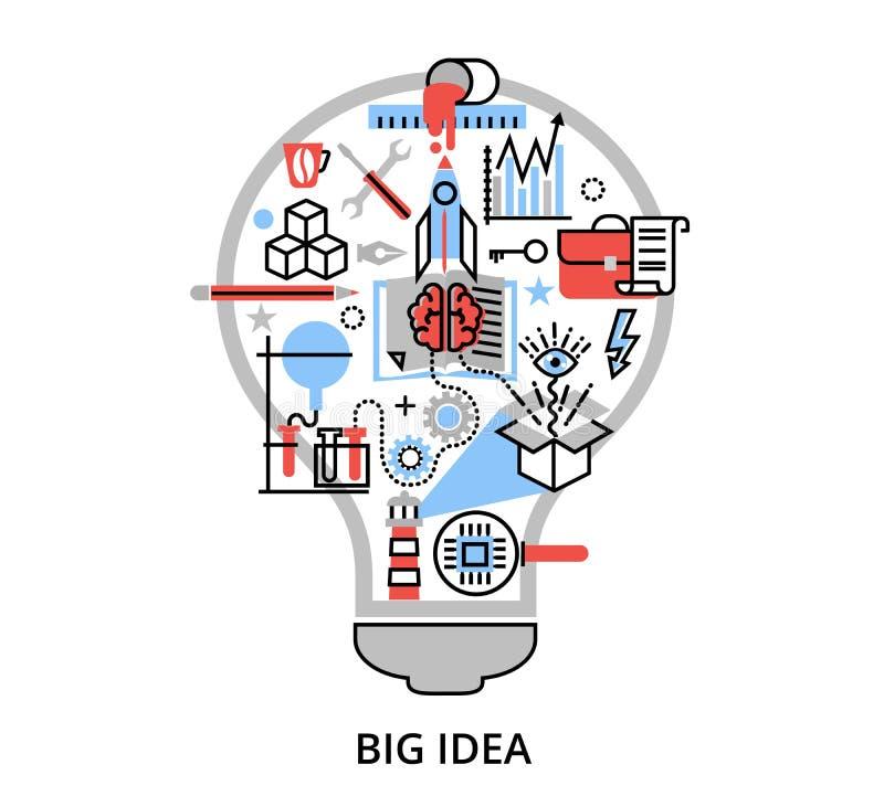 Linha fina lisa moderna ilustração do vetor do projeto, conceito da ideia grande criativa sob a forma da lâmpada do bulbo ilustração stock