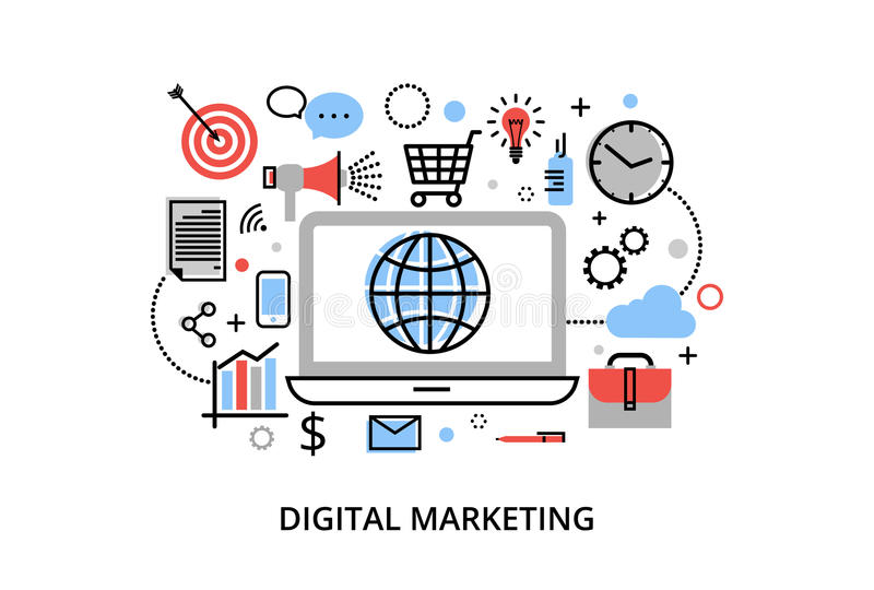 A linha fina lisa moderna ilustração do vetor do projeto, conceito do mercado digital, ideia do mercado do Internet e novo mercad ilustração stock