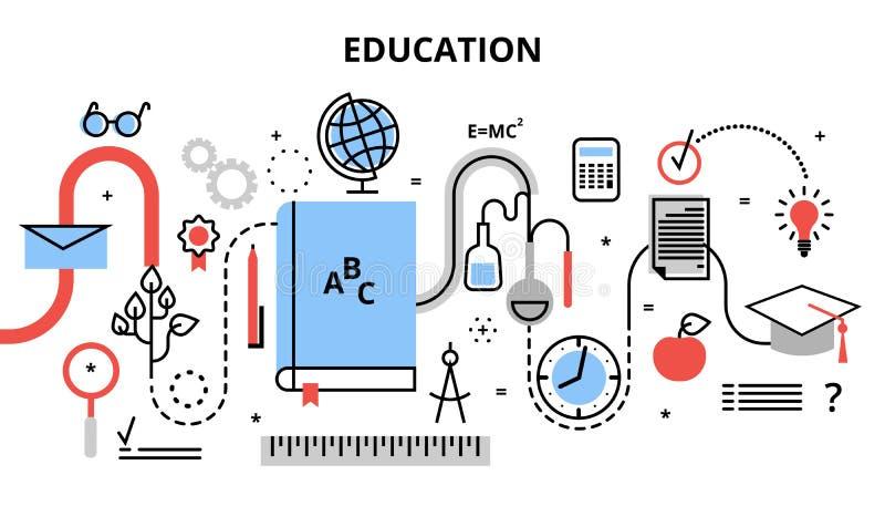 Linha fina lisa moderna ilustração do vetor do projeto, conceito do processo da educação, aprendendo na instituição educativa e e ilustração stock