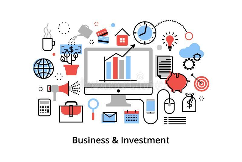 Linha fina lisa moderna ilustração do vetor do projeto, conceito infographic com ícones do investimento ao negócio e processo da  ilustração royalty free