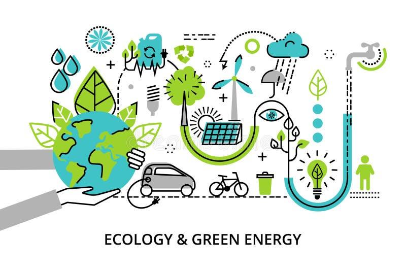 Linha fina lisa moderna ilustração do vetor do projeto, conceito infographic da energia verde do problema, da geração e do salvam ilustração do vetor