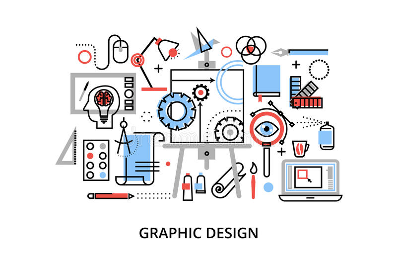 Linha fina lisa moderna ilustração do vetor do projeto, conceito infographic do projeto gráfico, artigos do desenhista e ferramen ilustração royalty free