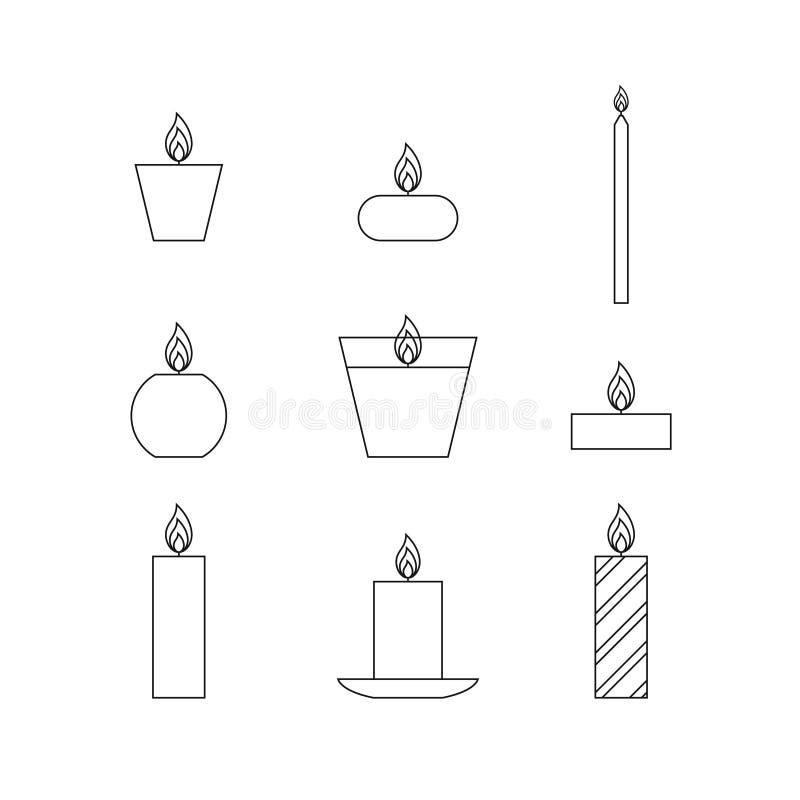 Linha fina lisa velas do Natal dos ícones ilustração do vetor