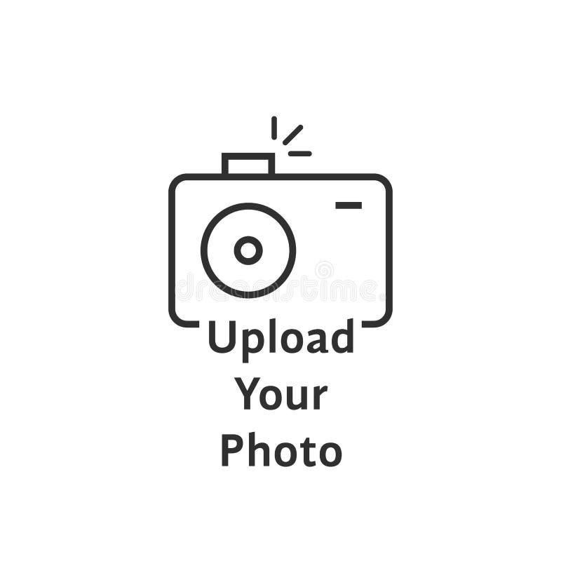 A linha fina logotipo da câmera do preto gosta da transferência de arquivo pela rede sua foto ilustração stock