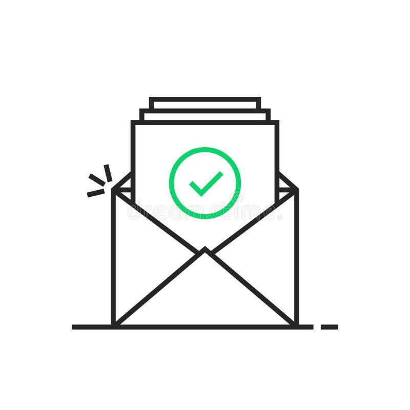 Linha fina logotipo do e-mail da confirmação ilustração stock
