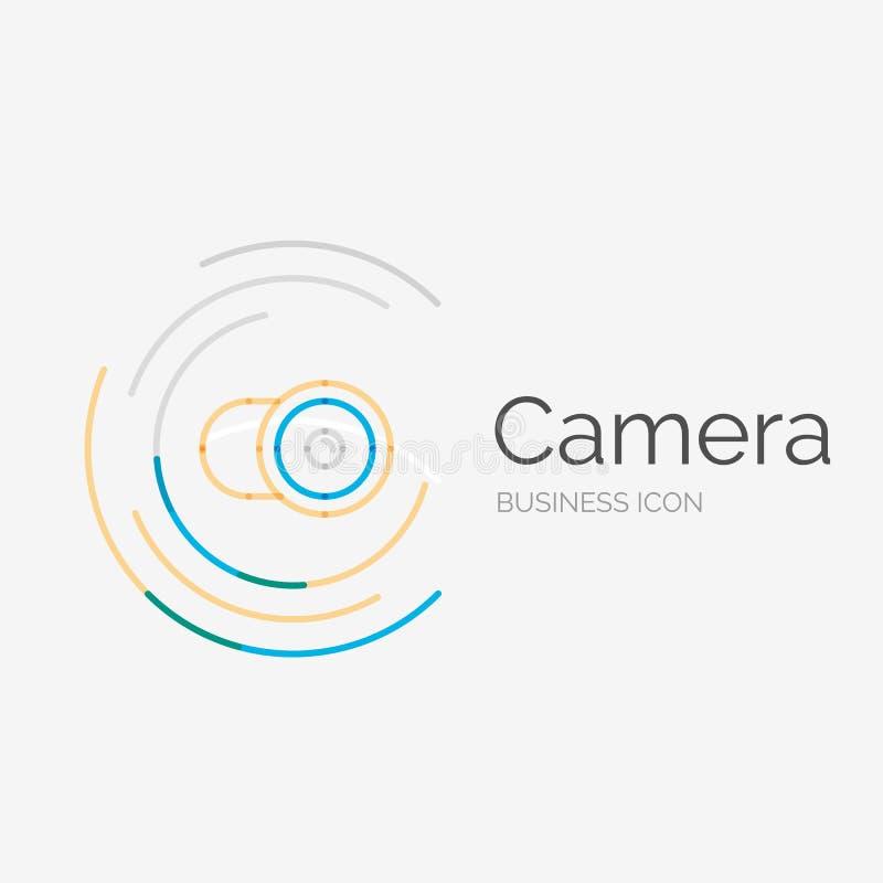 Linha fina logotipo puro do projeto, conceito da câmera ilustração do vetor