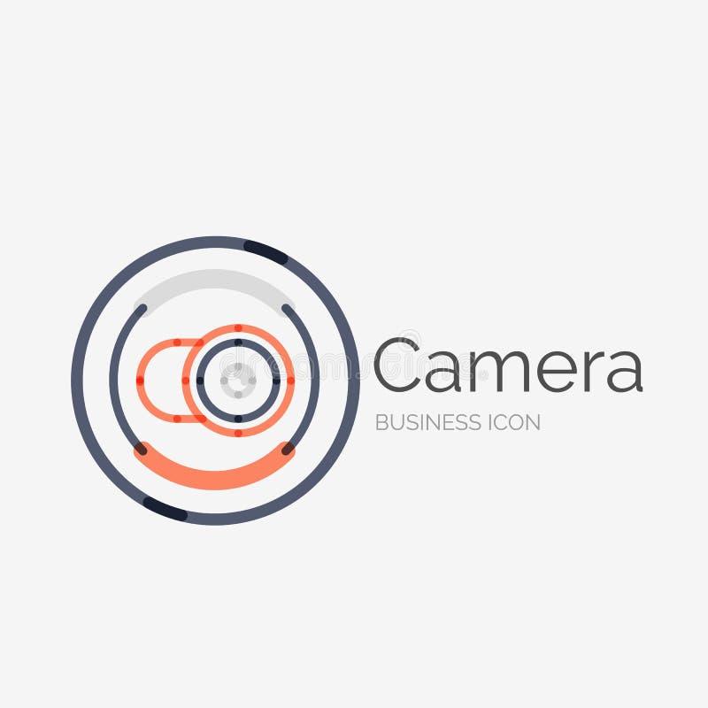 Linha fina logotipo puro do projeto, conceito da câmera ilustração stock