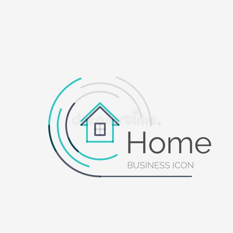 Linha fina logotipo puro do projeto, ideia home ilustração royalty free