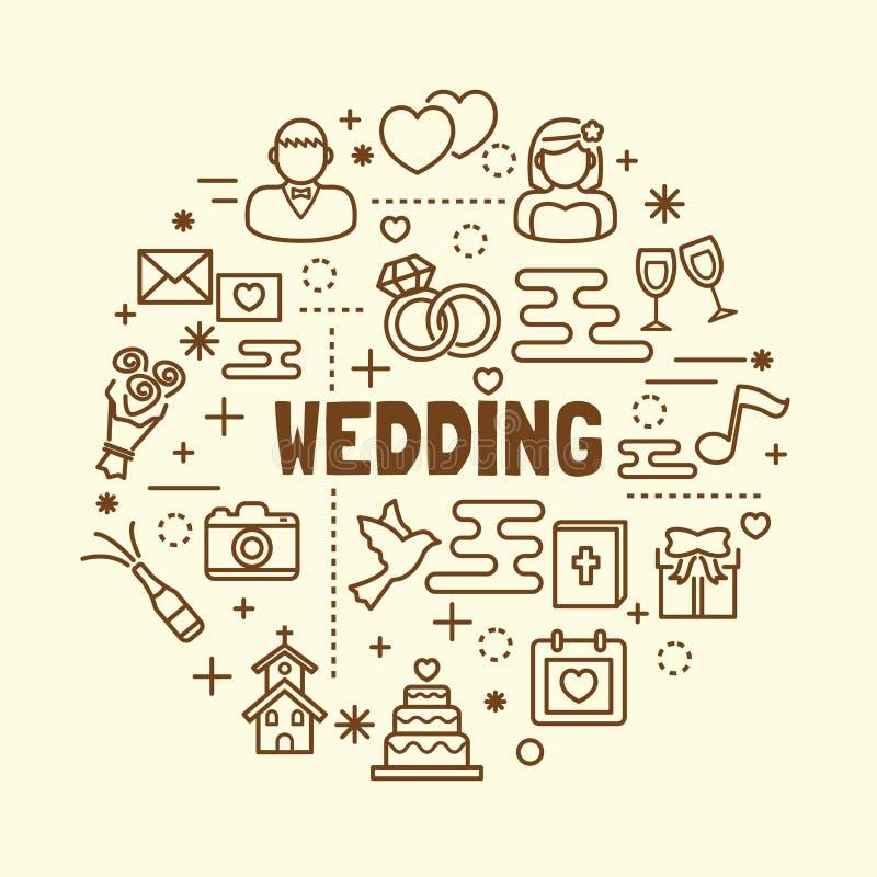 Linha fina mínima ícones do casamento ajustados ilustração do vetor