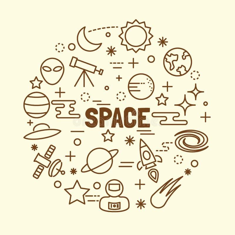 Linha fina mínima ícones do espaço ajustados ilustração royalty free
