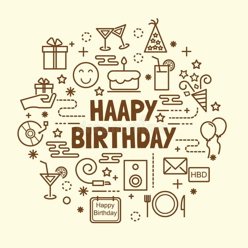 Linha fina mínima ícones do feliz aniversario ajustados ilustração stock
