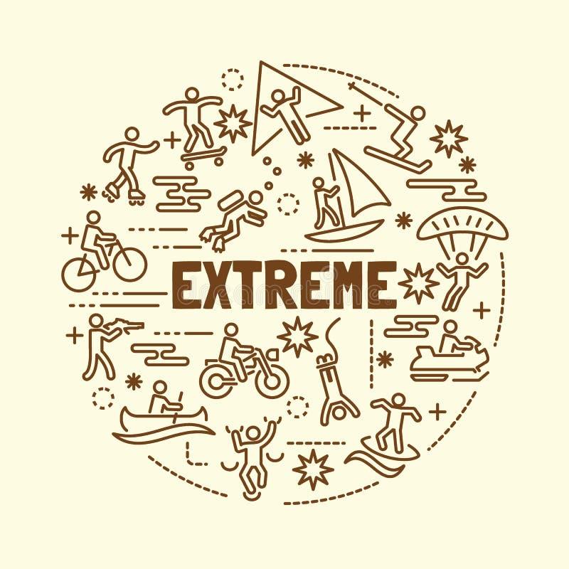Linha fina mínima extrema ícones ajustados ilustração stock