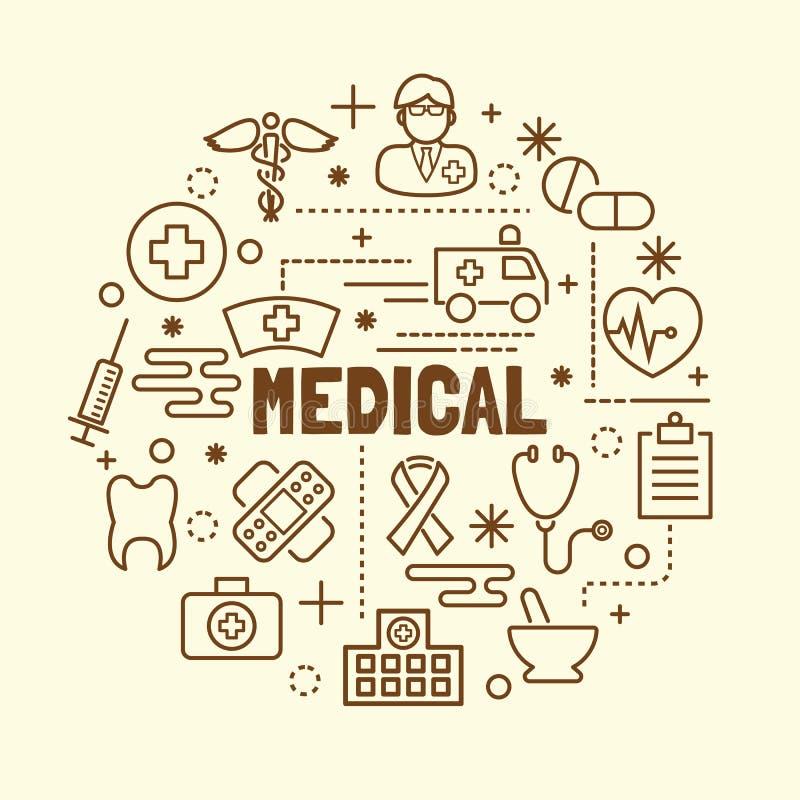 Linha fina mínima médica ícones ajustados ilustração royalty free