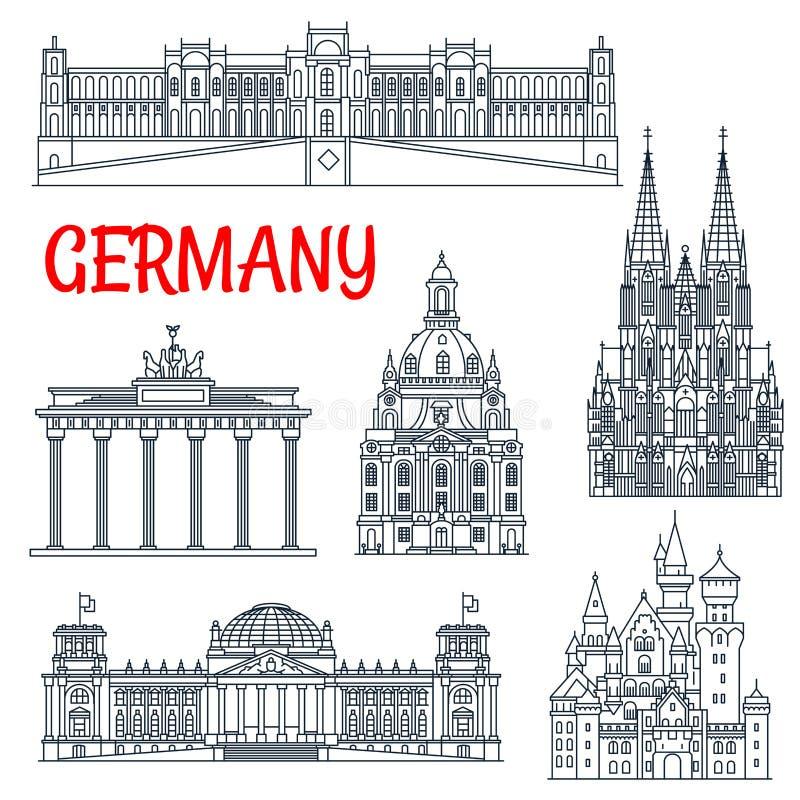 Linha fina marco notável do turismo de Alemanha ilustração do vetor