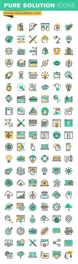 Linha fina moderna ícones ajustados do projeto gráfico, do projeto do Web site e do desenvolvimento, setembro ilustração royalty free