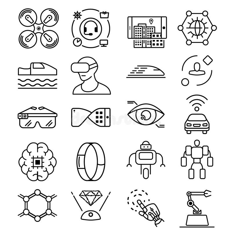 A linha fina moderna ícones ajustou-se da tecnologia futura e do robô inteligente artificial ilustração royalty free
