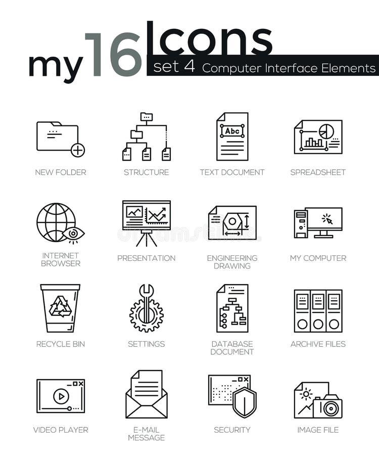 A linha fina moderna ícones ajustou-se de elementos da relação do computador ilustração royalty free