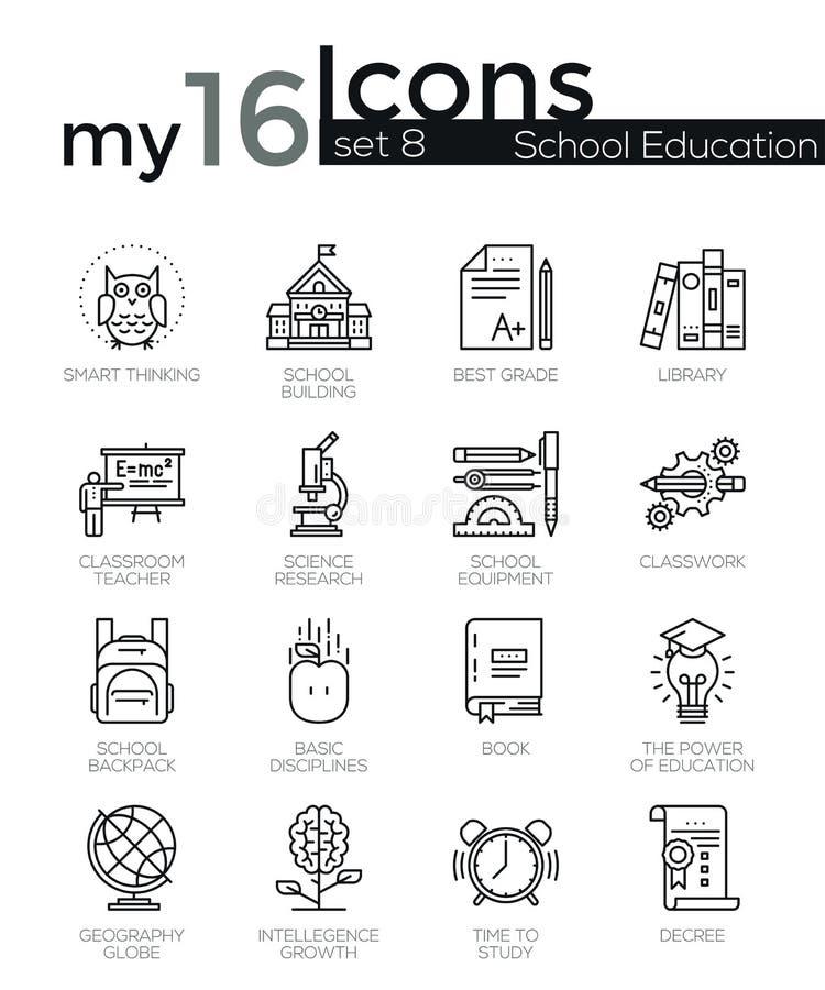 A linha fina moderna ícones ajustou-se de fundamentos da educação escolar ilustração royalty free